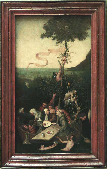 Jheronymus Bosch van AKEN, dit BOSCH - Bois-Le-Duc, vers 1450 - Bois-Le-Duc, 1516<br>La Nef des fous Vers 1510 - 1515 © Musée du Louvre/A. Dequier - M. Bard