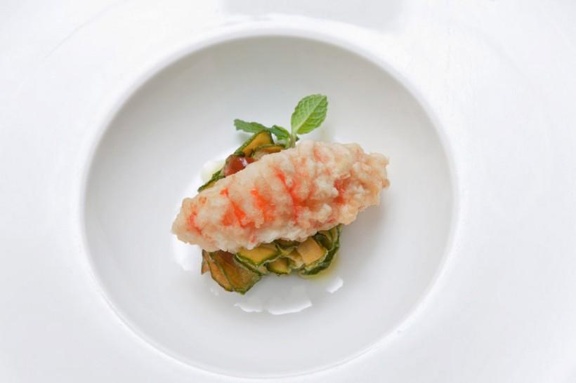 scampo-in-tempura-zucchine-ristorante-Lorenzo-al-Forte