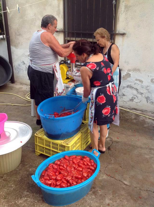 pomodori nella macchina per passare