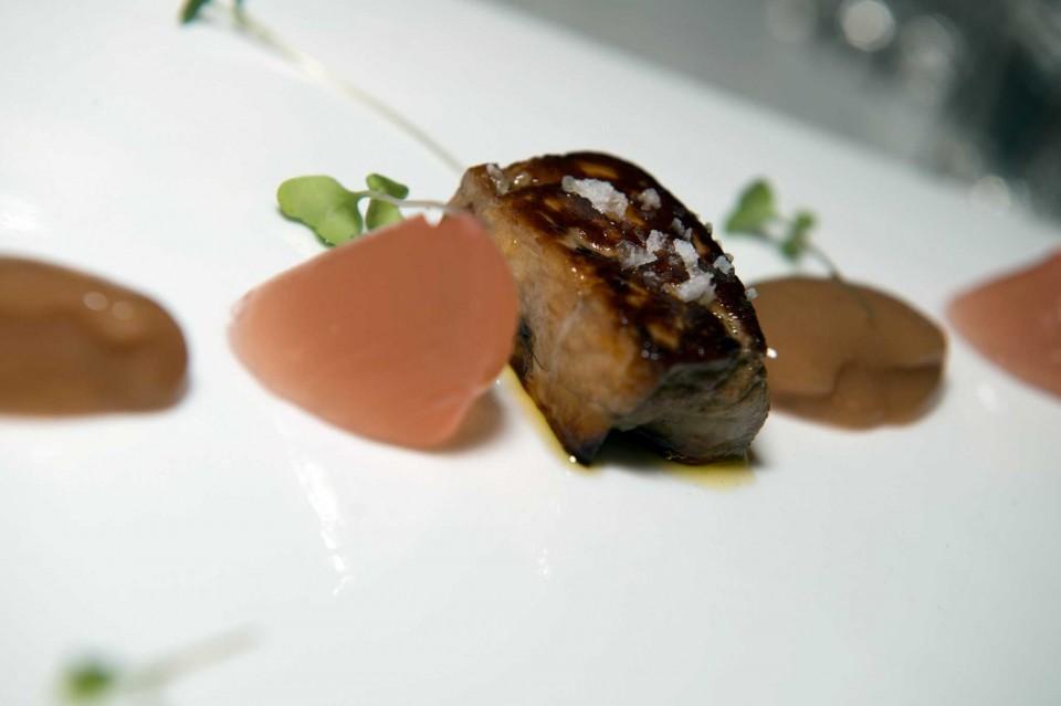 foie gras, visciole, sorbetto alla pesca