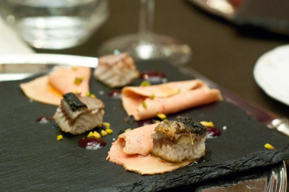 Foie gras e anguilla