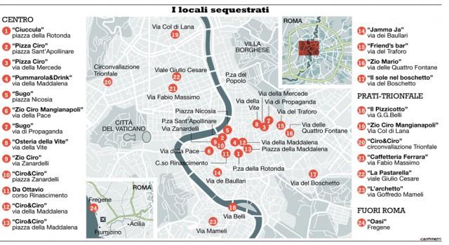 mappa ristoranti sequestrati Roma