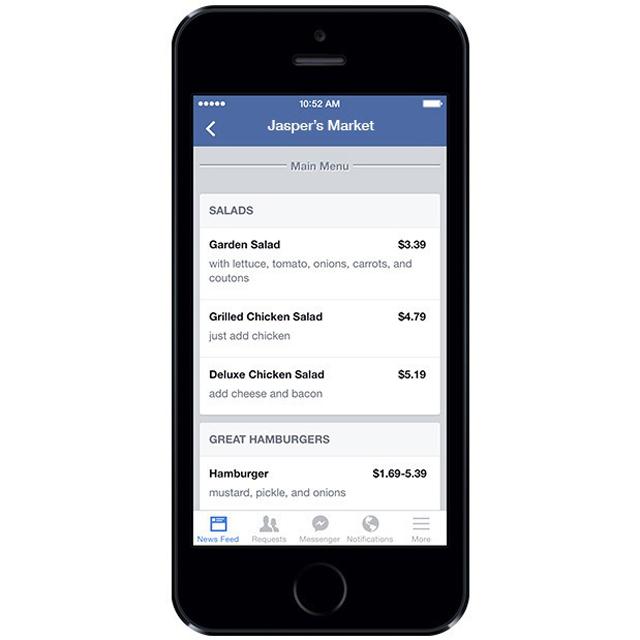 menu ristorante facebookiphone