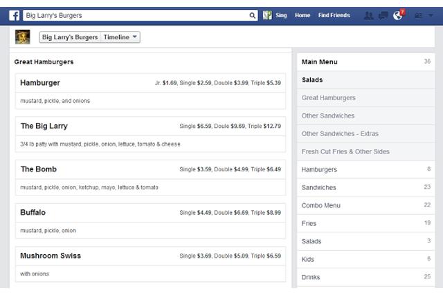 menu ristoranti facebook