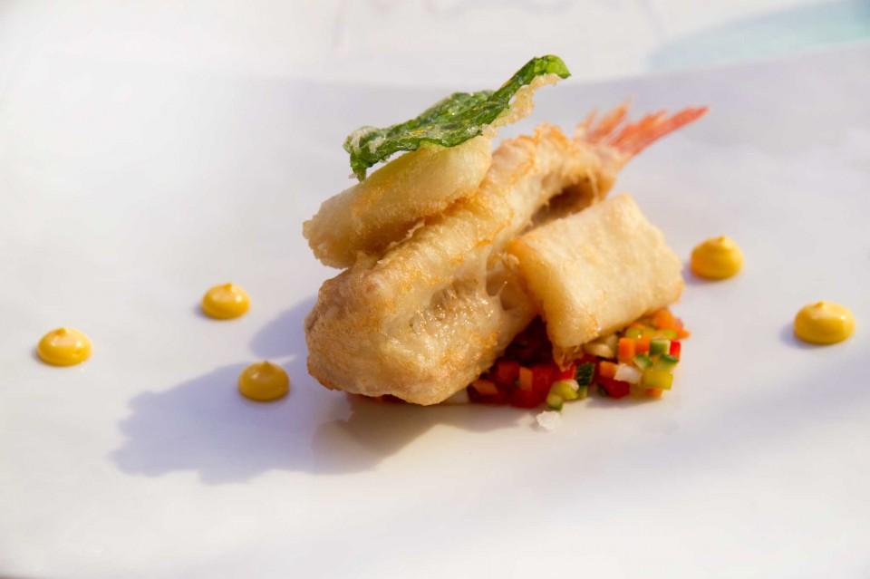 triglia e calamari tempura
