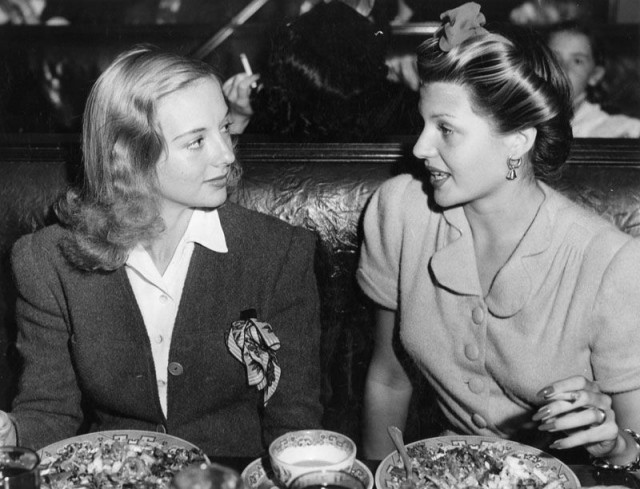 Rita Hayworth & best friend Evelyn Keyes, Beverly Hills Brown Derby, October 12, 1940