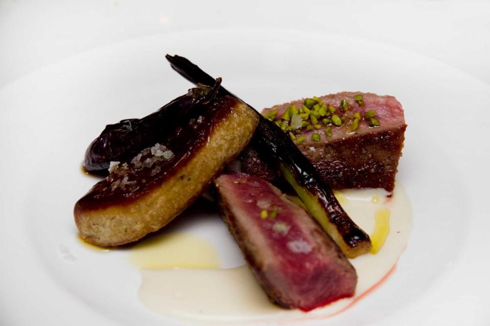 agnello foie gras melanzana