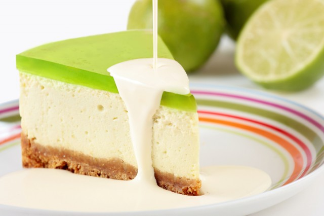 Key lime pie with cream