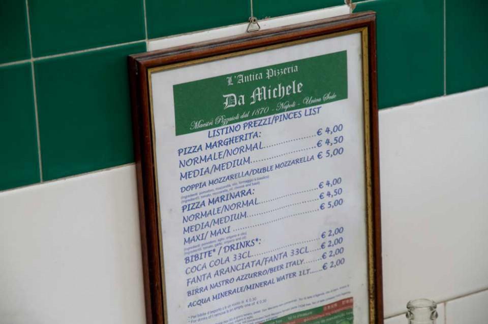 prezzi pizza da Michele Napoli