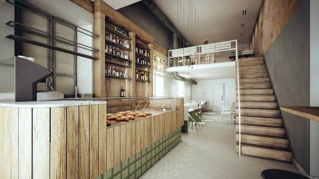 contesto urbano banco caffetteria