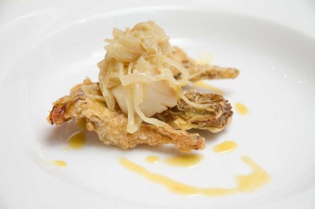 baccalà cipolla senape carciofi fritti