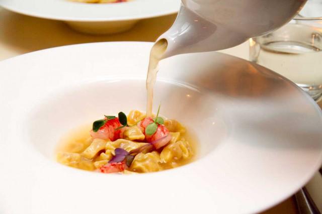 plin cotechino parmigiano gamberi