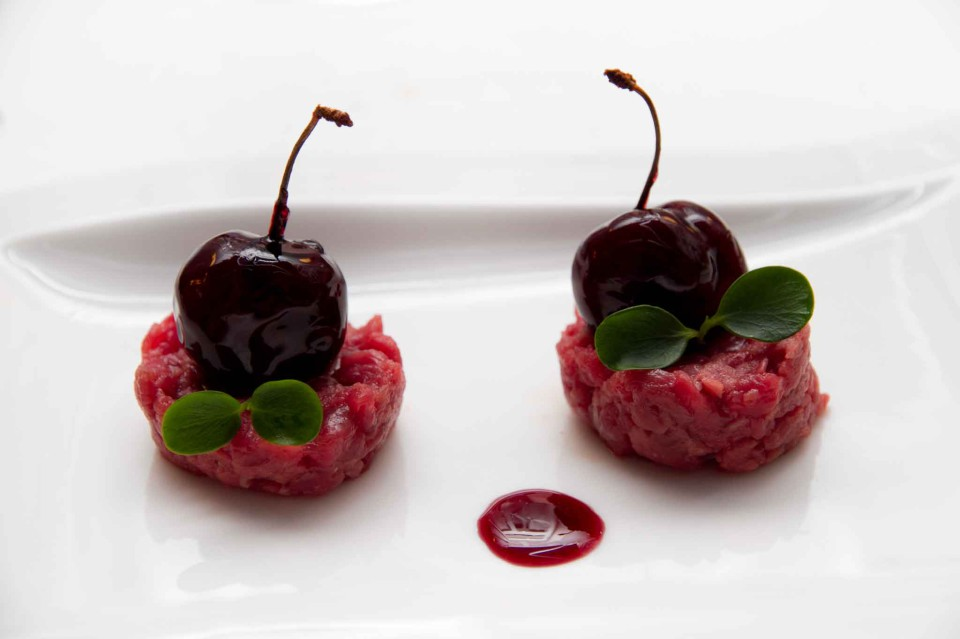 carne cruda ciliegia foie gras