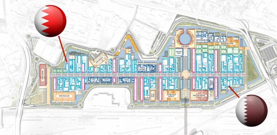 expo Milano mappa Bahrein Qatar