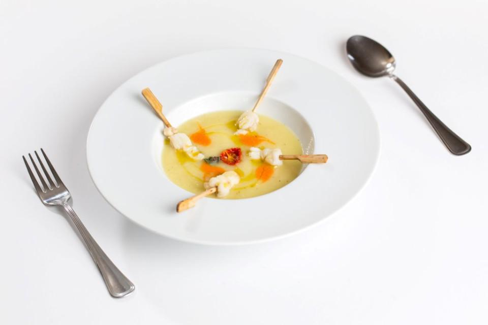 crema di patate e rana pescatrice