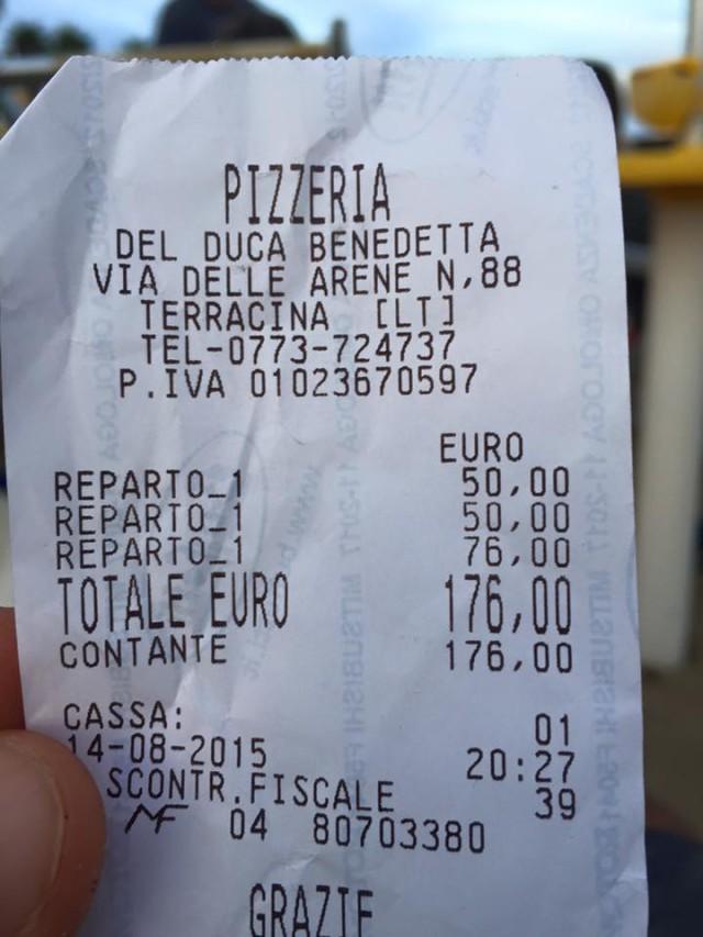 scontrino pizzeria del duca benedetta