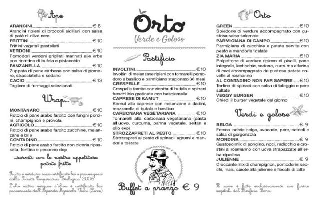 menu ristorante orto
