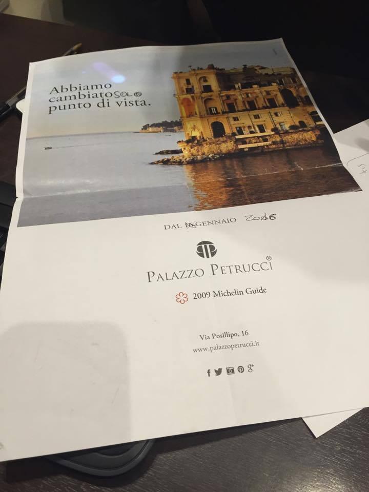 nuovo indirizzo Palazzo Petrucci ristorante Napoli