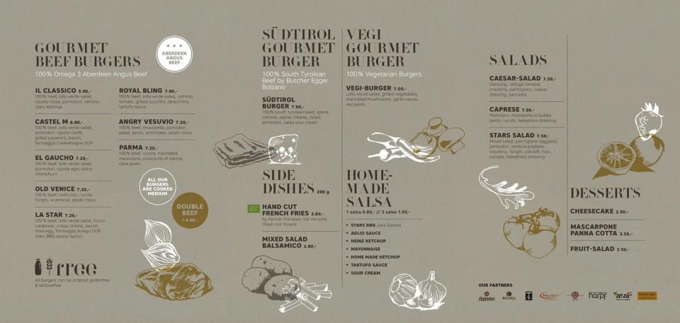 menu hamburger Stars Bolzano