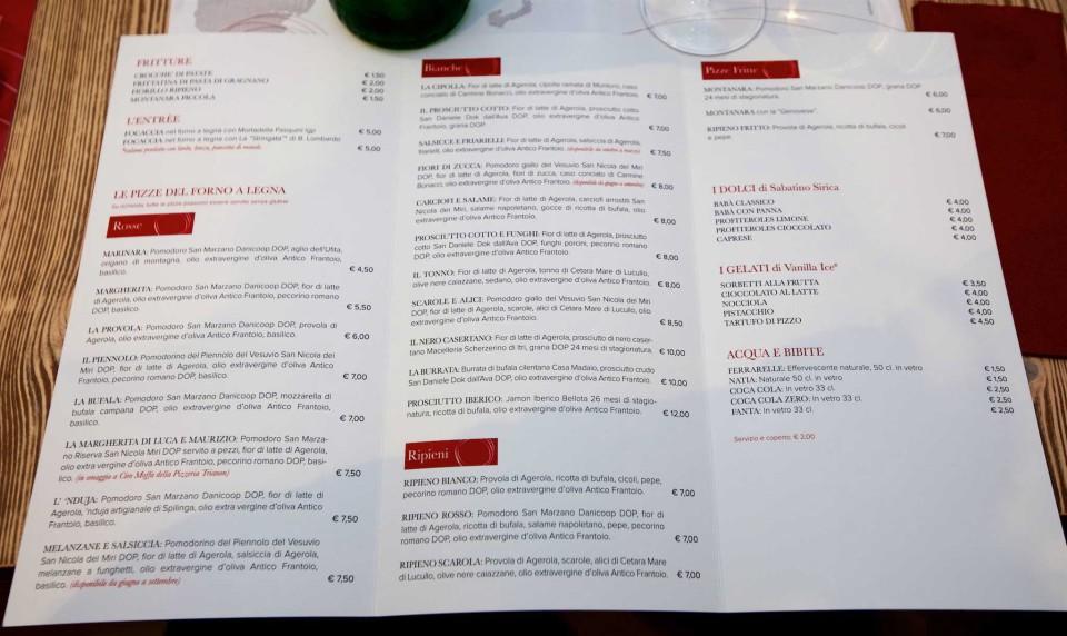 menu pizzeria Castellano