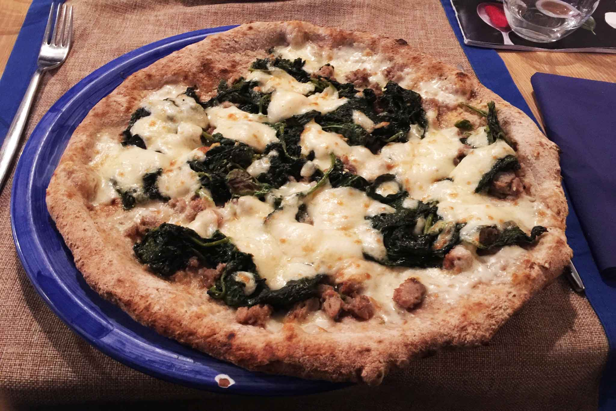 pizza salsiccia e broccoli farina integrale