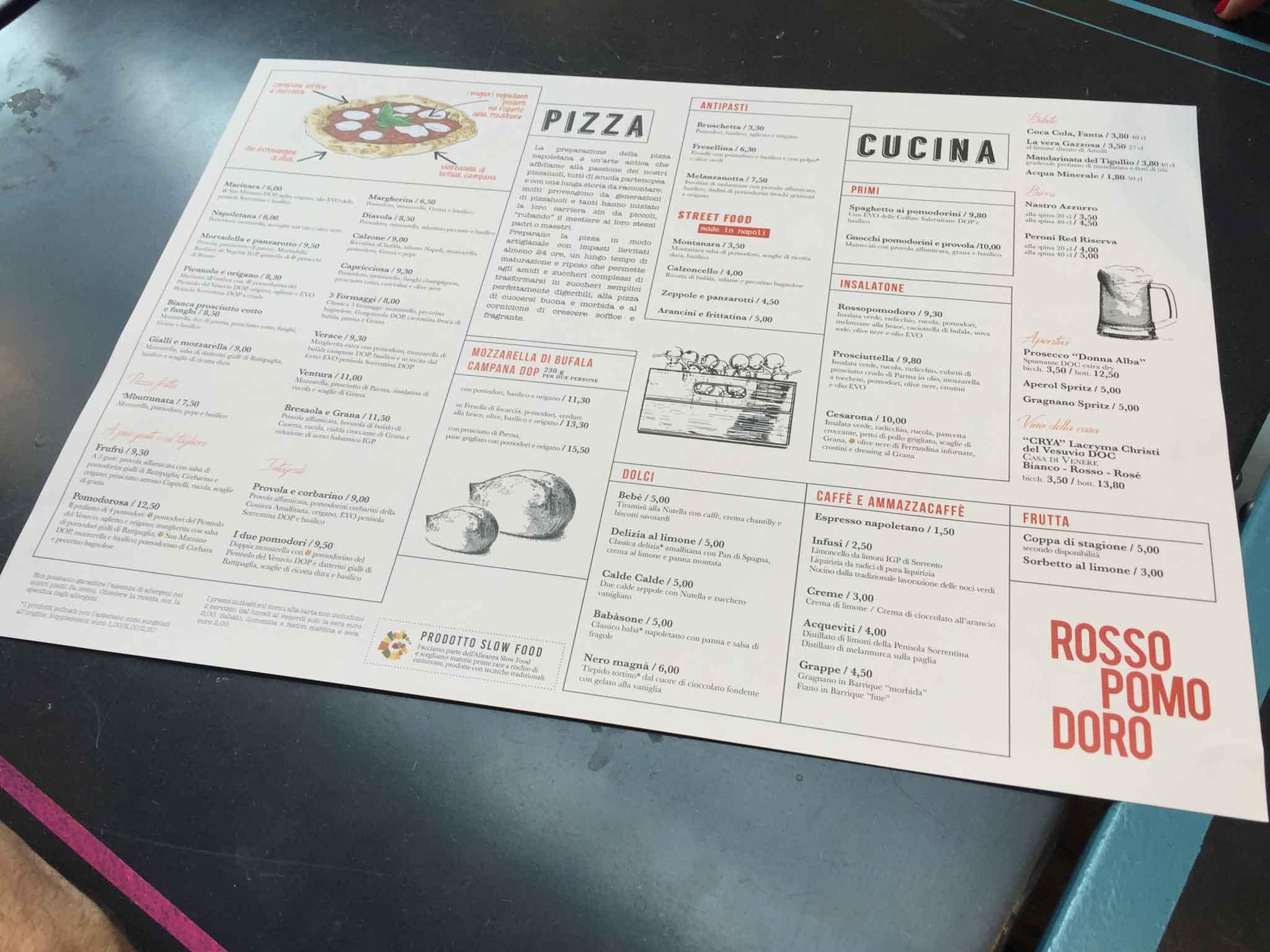 menu pizza Rossopomodoro