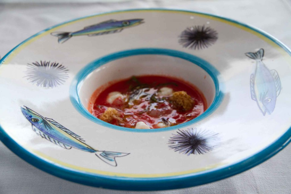 Zuppetta pomodoro bufala alici gamberi rossi crudi Riccio Capri