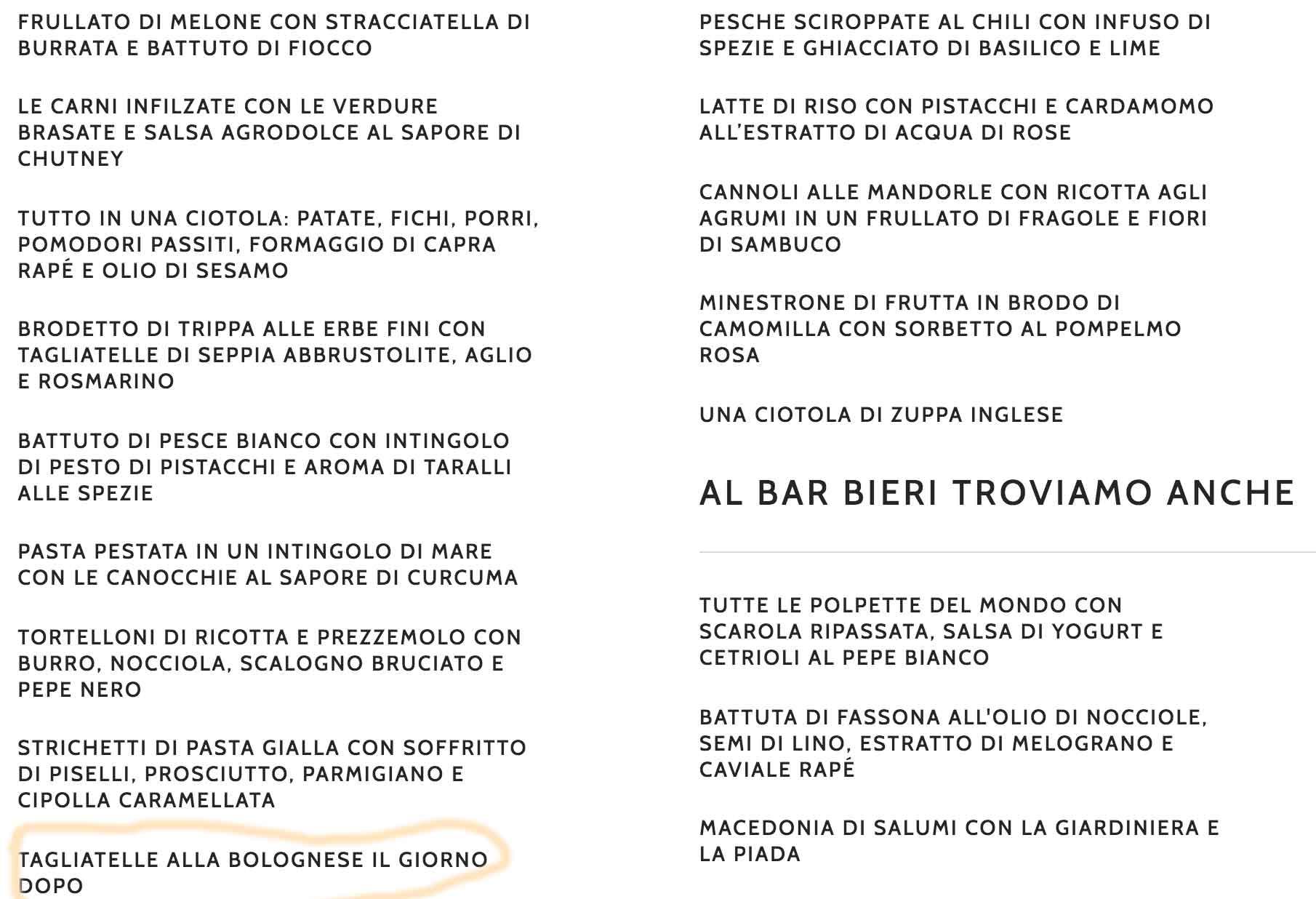 menu Fourghetti ristorante Barbieri