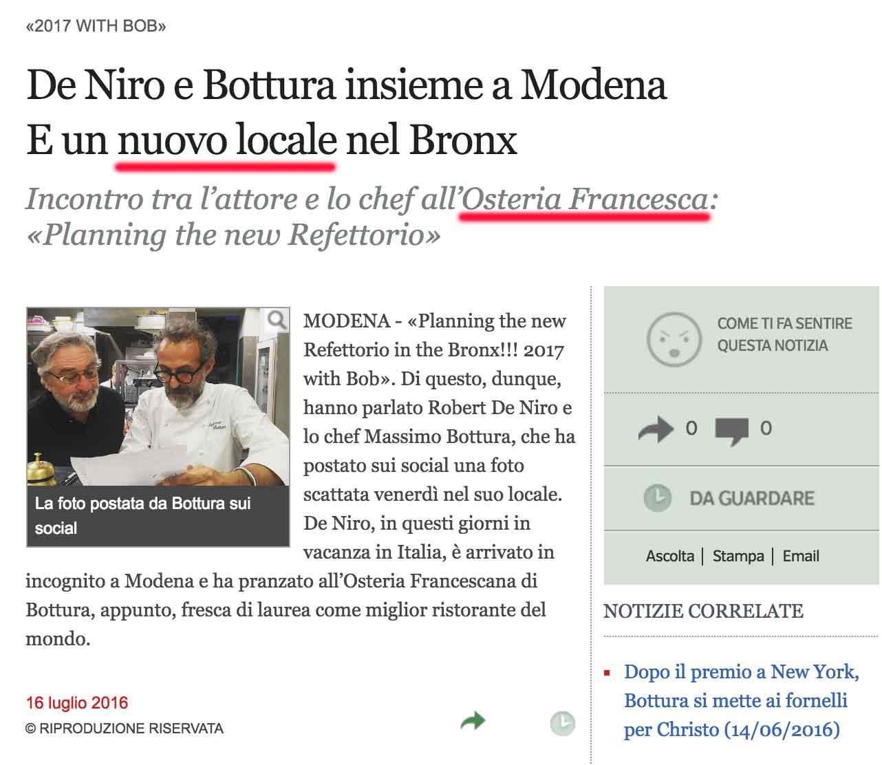 Bottura De Niro Osteria Francesca Corriere della Sera