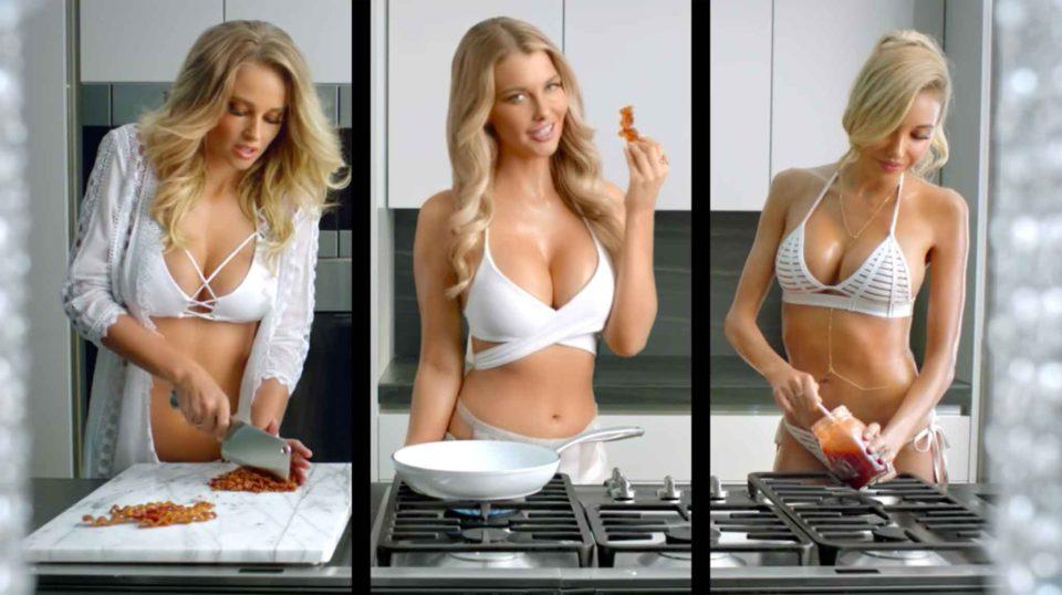 hamburger spot tre modelle bikini bianco 3