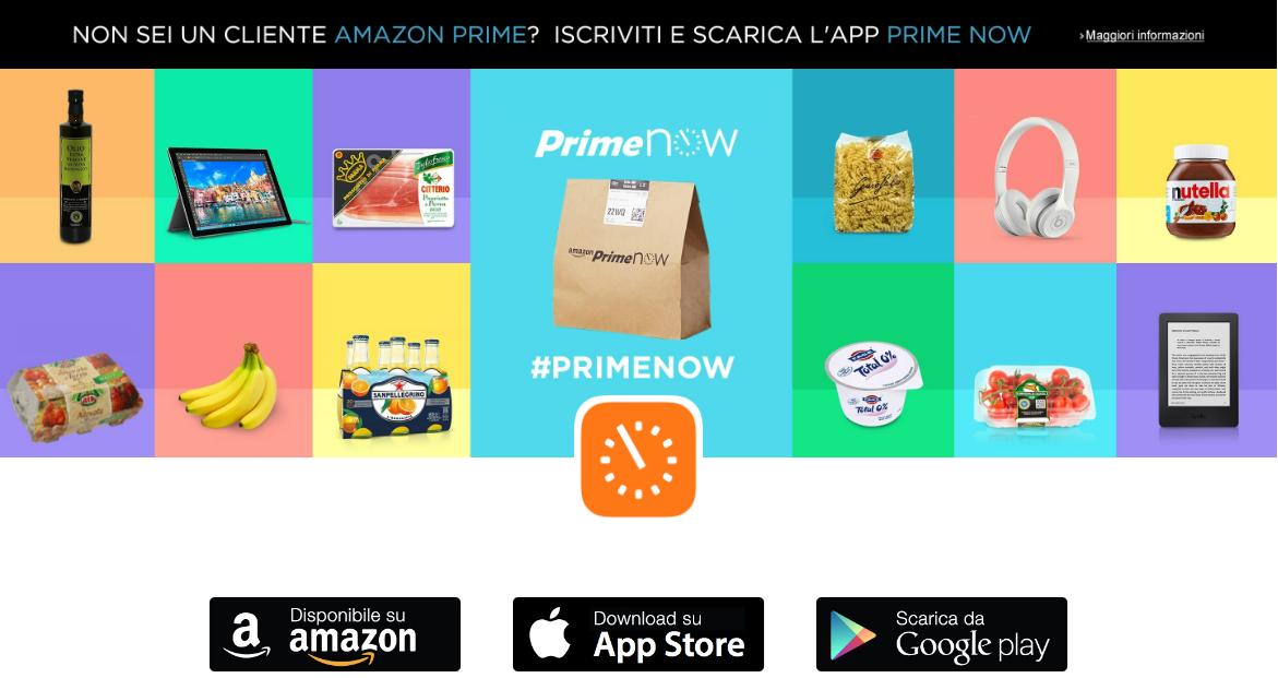 Amazon Prime Now cibi