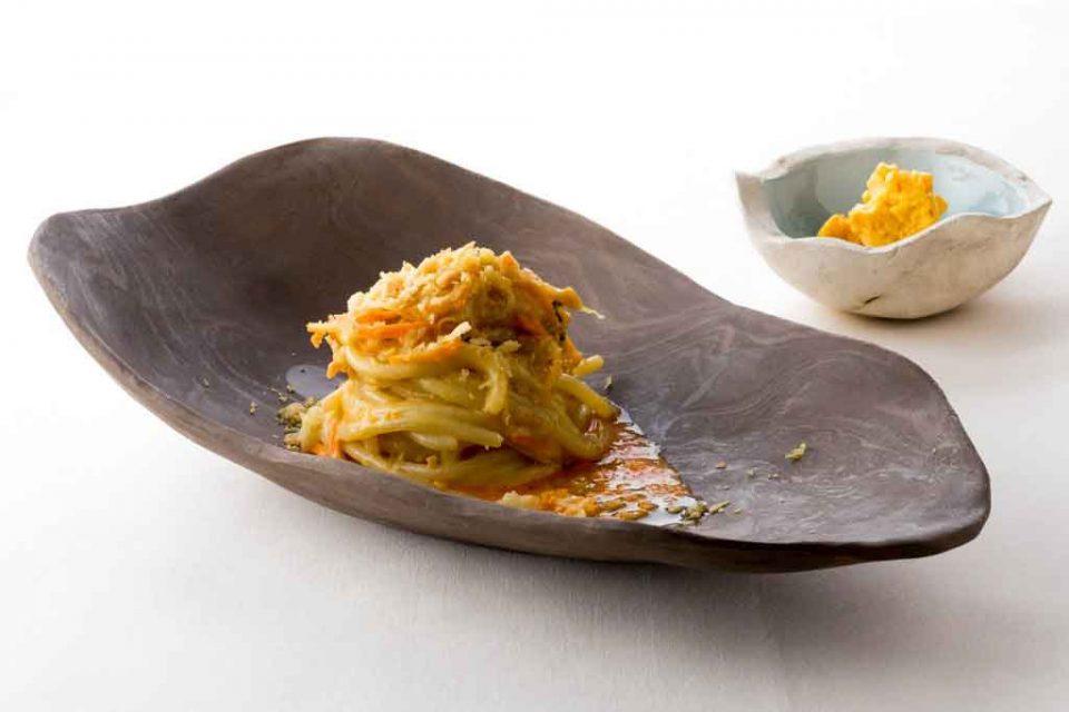 Spaghettone carote riccio mare limone