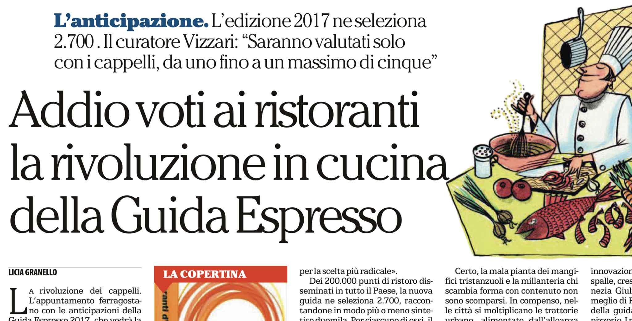 nuova guida ristoranti Italia Espresso 2017