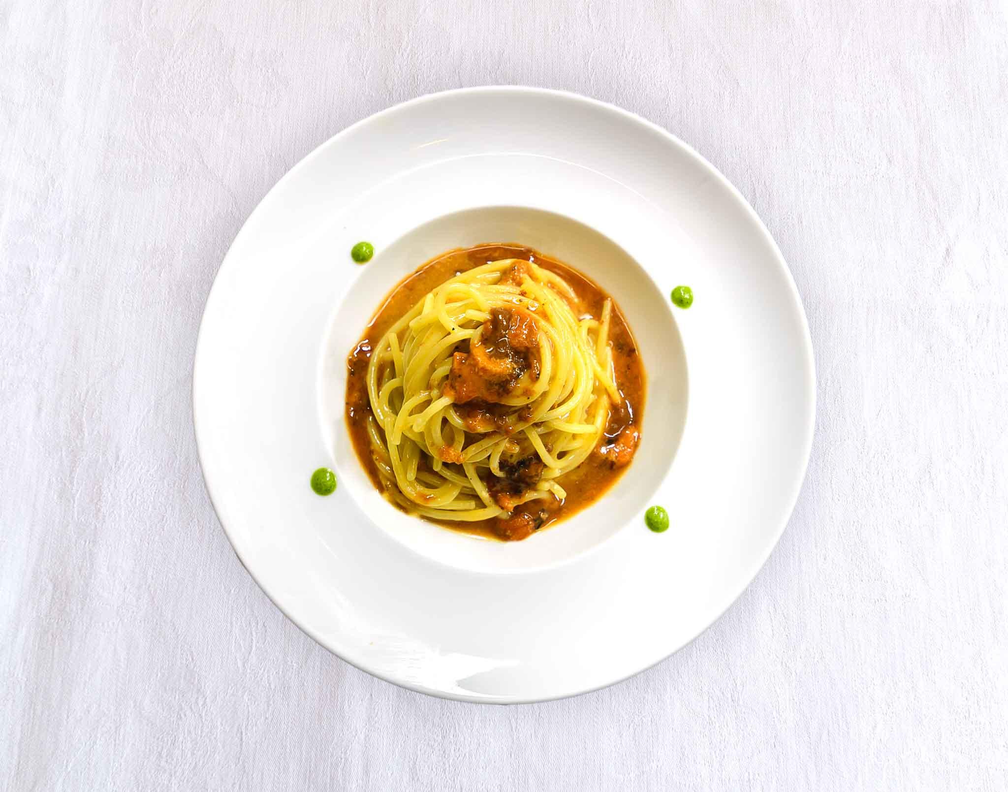 spaghetti ai ricci di mare osteria Mangio Tricase