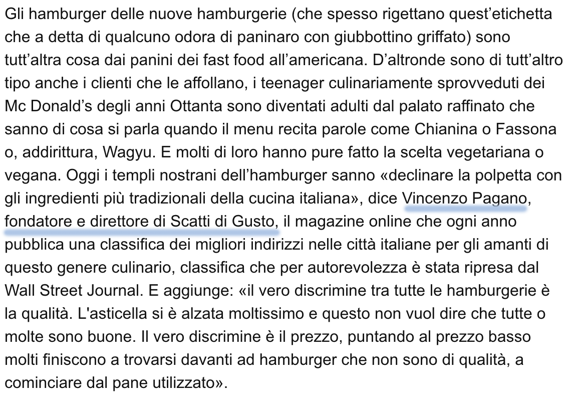 hamburger Tirreno Vincenzo Pagano