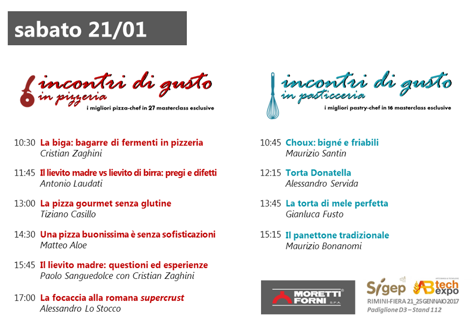 Incontri di Gusto Sigep pizza pasticceria Moretti Forni sabato