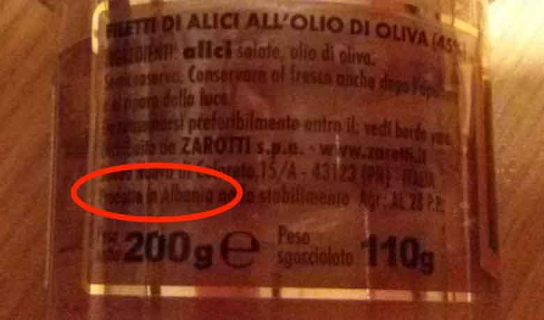 etichetta alici cetara albania