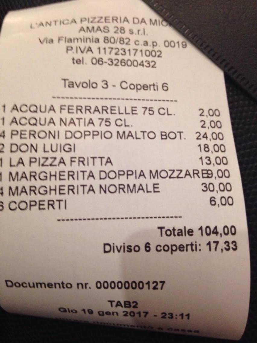 scontrino pizza da michele Roma