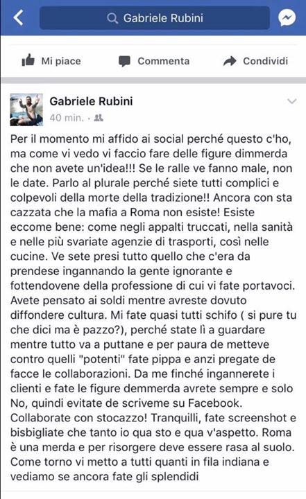 Chef Rubio attacca Gabriele Bonci