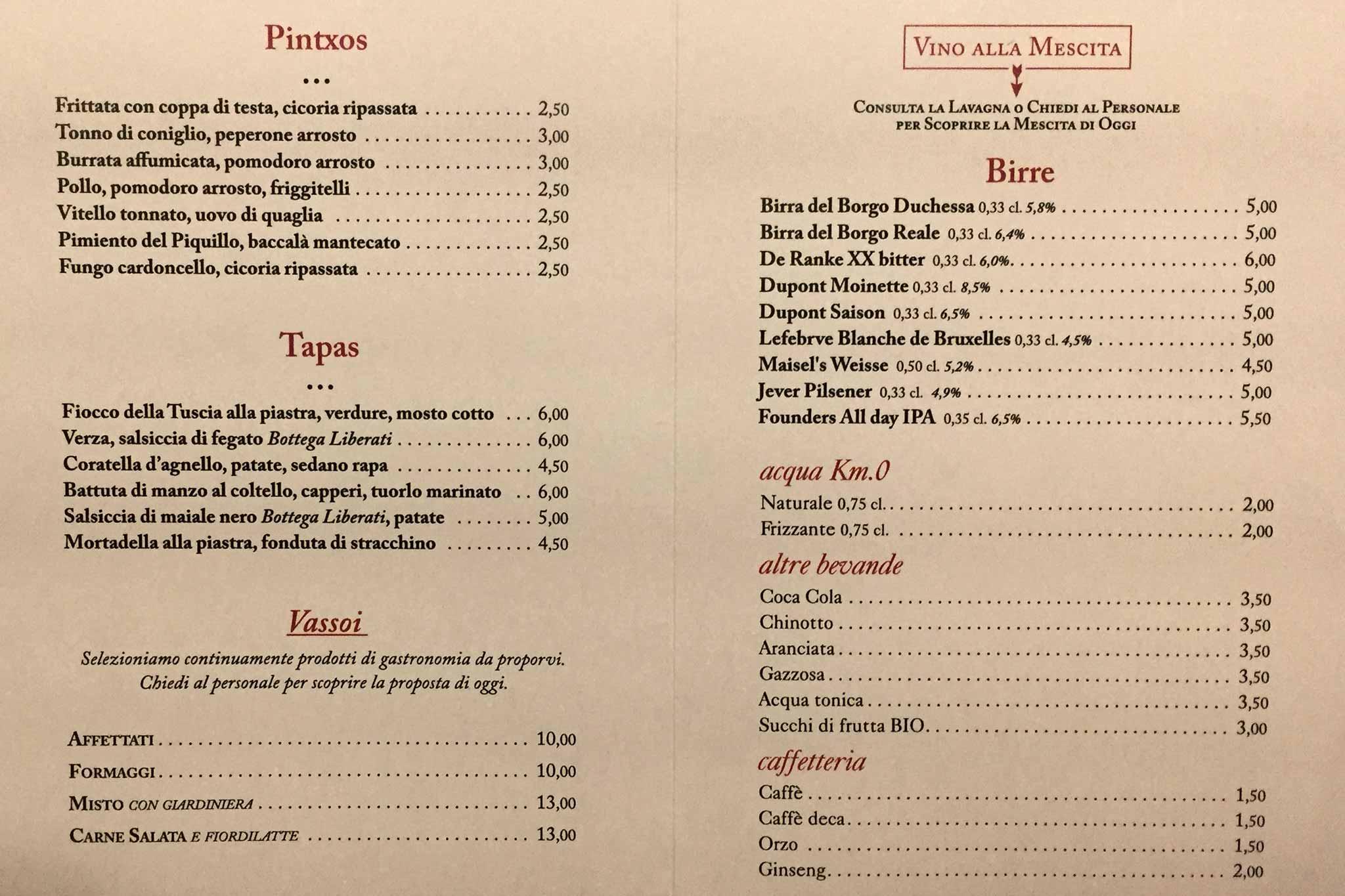 Roma menu e prezzi della nuova enoteca bulzoni for Enoteca con cucina di pesce milano