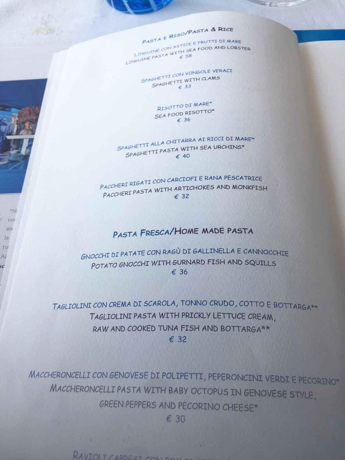 Riccio ristorante Capri menu prezzi