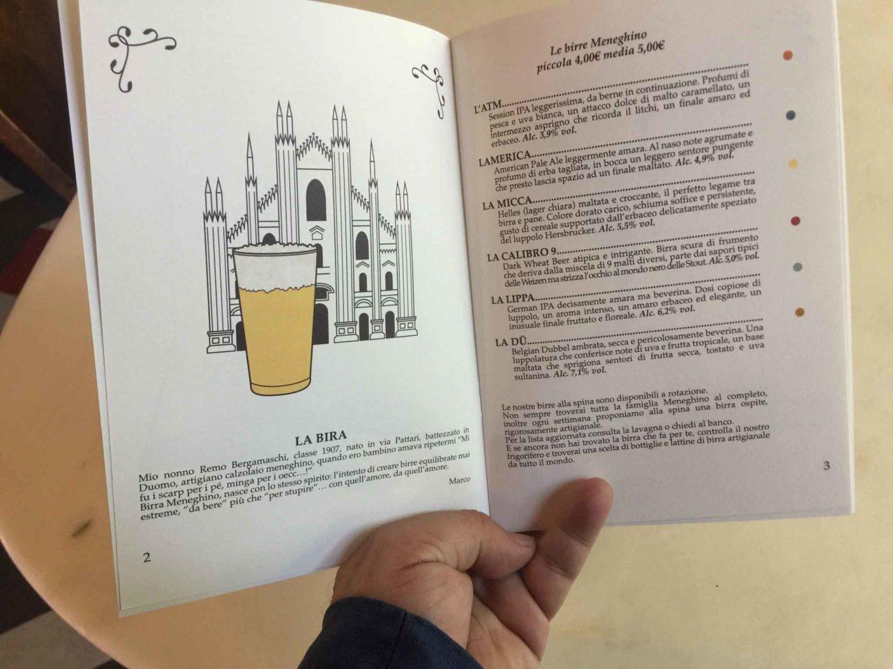 birra meneghino birreria milano menu birre