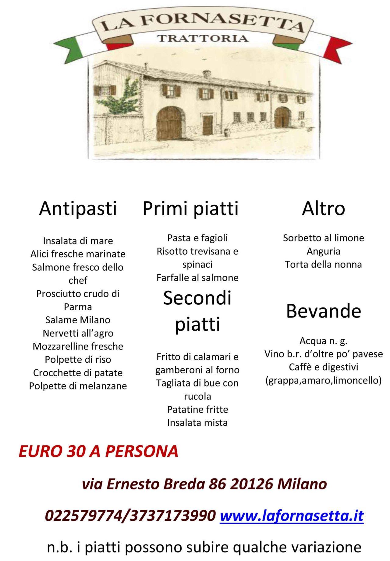 La Fornasetta trattoria Milano menu fisso primavera estate