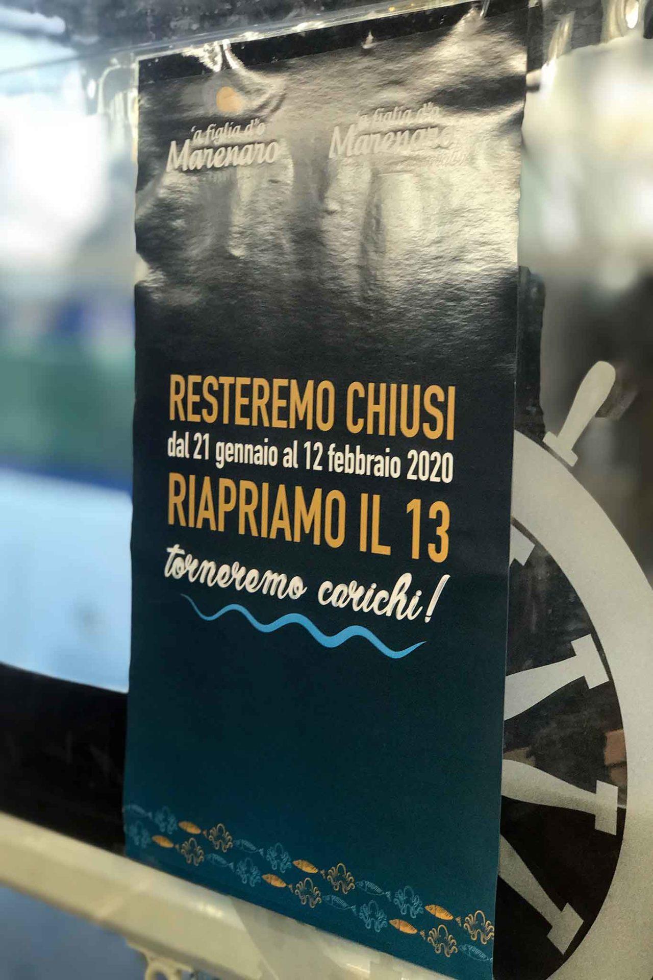 A Figlia do Marenaro Napoli date chiusura 2020