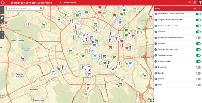 Consegne a domicilio. La mappa del Comune di Milano