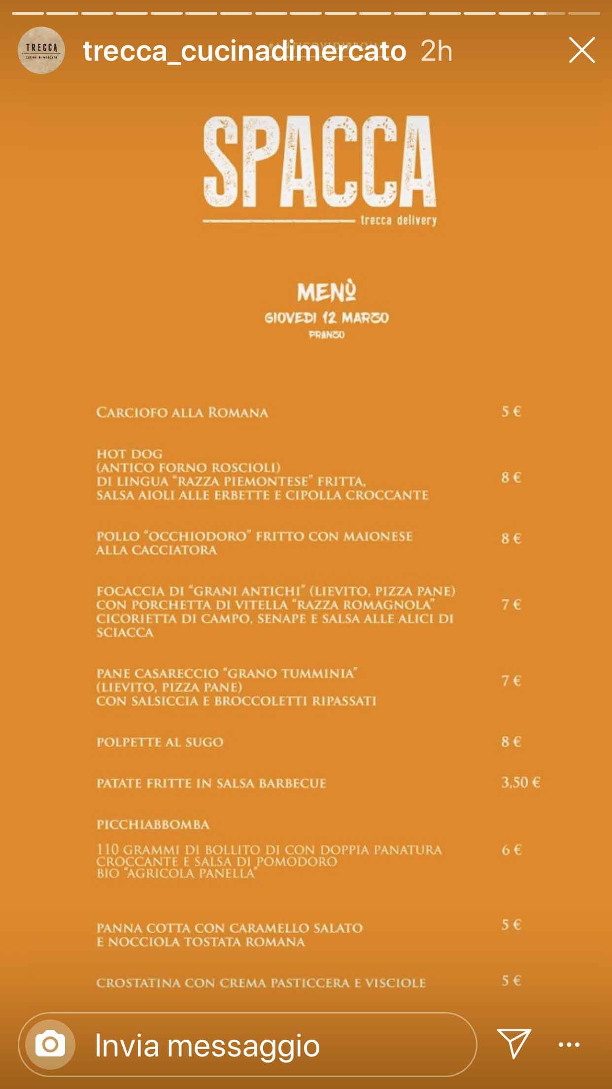 menu spacca roma