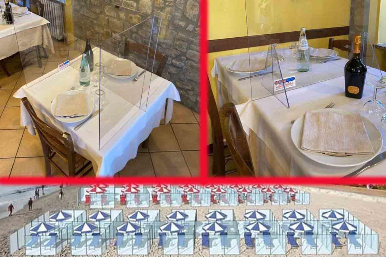 lastre in plexiglas per separare i commensali nei ristoranti