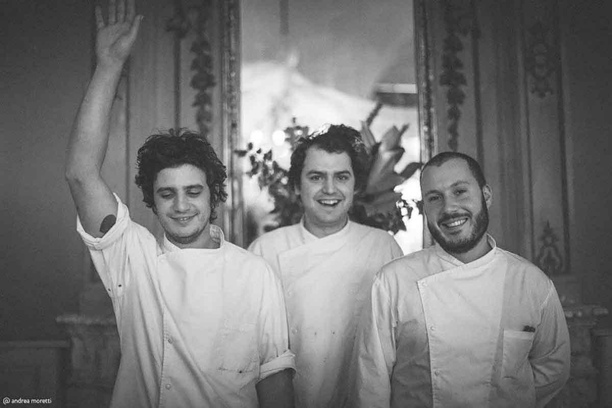 Lorenzo Stefanini Stefano Terigi e Benedetto Rullo chef del ristorante Giglio stella Michelin
