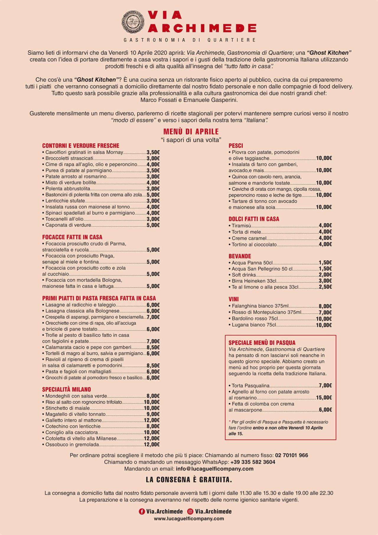 Via archimede cucina di quartiere milano menu