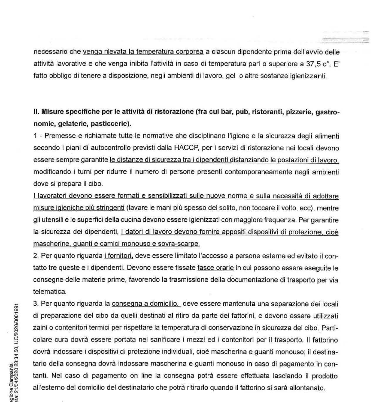 ordinanza Campania 37 22 aprile 2020 misure sicurezza bar ristoranti pizzerie pub gastronomie gelaterie pasticcerie